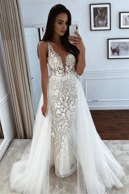 Spaghetti Straps Appliques Wedding Dresses With Detachable Train | V-neck Mermaid Cheap Bridal Gowns_1