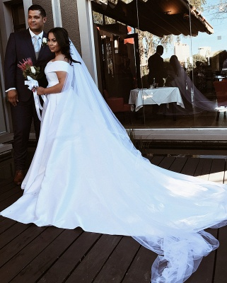 Elegant Off The Shoulder Satin Wedding Dresses | A-line Cheap Bridal Gowns With Sweep Train_4