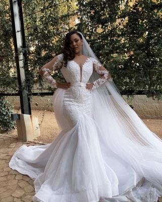 Robes de mariée à manches longues avec sirènes | Robes de mariée de grande taille en tulle transparent_2