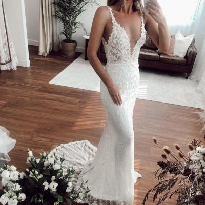 V-neck Spaghetti Straps Lace Appliques Wedding Dresses | Mermaid Floor Length Bridal Gowns_2
