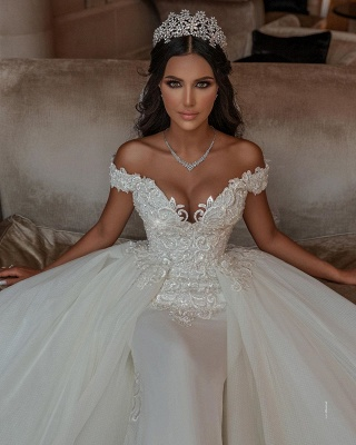 Off The Shoulder Appliques Sheath Wedding Dresses | Sweetheart Tulle Bridal Gowns with Lace Detachable Train_3