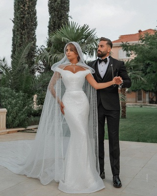 Off The Shoulder Sparkling Sequins Wedding Dresses | Mermaid Floor Length Bridal Gowns With Shawl_3