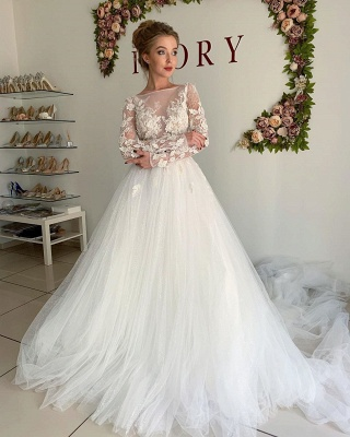 Sheer Tüll Elegante Applikationen Brautkleider | Brautkleider in A-Linie mit langen Ärmeln online_3