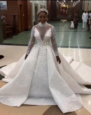 Luxury Beads High Neck Ball Gown Wedding Dresses | Sparkling Long Sleeves Bridal Gowns_3