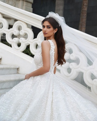 Straps Beads Appliques Ball Gown Wedding Dresses | Floral Backless V-neck Bridal Gowns_3