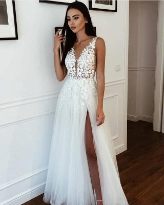 Träger Applikationen V-Ausschnitt A-Linie Brautkleider | Bodenlange Kleider aus Tüll mit seitlichem Schlupf online_2