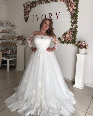 Off The Shoulder Lace Long Sleeve Wedding Dresses | Belt A-line Appliques Bridal Gowns_3