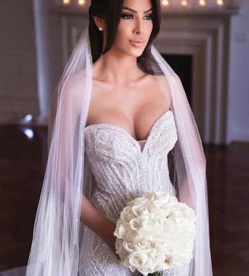 Strapless Shiny Beading Sweetheart Wedding Dresses | Mermaid Floor Length Sleeveless Bridal Gowns_2