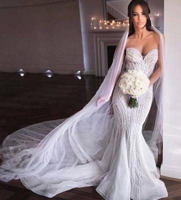 Strapless Shiny Beading Sweetheart Wedding Dresses | Mermaid Floor Length Sleeveless Bridal Gowns_3