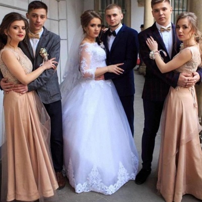 Elegant Lace Appliques Ball Gown Wedding Dresses | Long Sleeves Floor Length Cheap Bridal Gowns_2