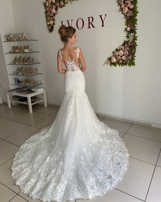 Straps Appliques Mermaid Wedding Dresses | Pleated Sheer tulle Cheap Bridal Gowns_2