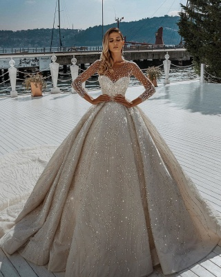 Sparkling Crystal Beading Ball Gown Wedding Dresses | Jewel Sheer Tulle Long Sleeve Bridal Gowns_2