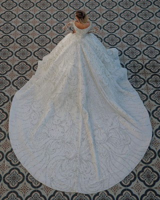 Gorgeous Shiny Sequins Crystal Ball Gown Wedding Dresses | Beads Long Sleeve Off The Shoulder Bridal Gowns_2
