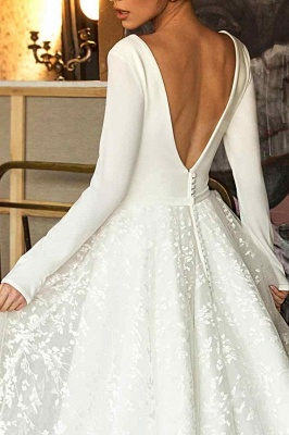 Elegant Lace Bridal A-line V-Neck Long Sleeves Wedding Dresses_4