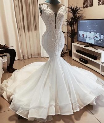 Meerjungfrau Perlen Applikationen Ärmellose Brautkleider | Brautkleider mit V-Ausschnitt aus transparentem Tüll_2