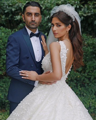 Straps Beads Appliques Ball Gown Wedding Dresses | Floral Backless V-neck Bridal Gowns_2