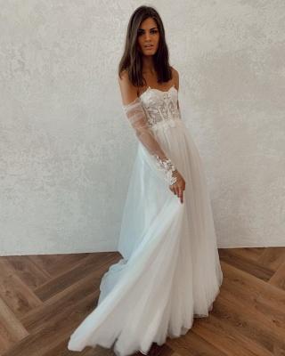 Straplesss A-line Appliques Vestidos de novia baratos | Vestidos de novia sin espalda hasta el suelo con mangas de tul_2