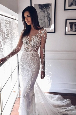 Shiny Crystal Flower Applioques Wedding Dresses | Sheer Tulle Long Sleeve Bridal Gowns_1
