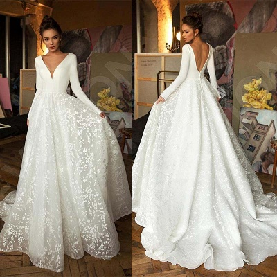 Elegant Lace Bridal A-line V-Neck Long Sleeves Wedding Dresses_7