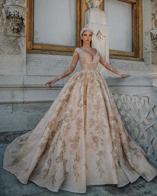 Vestidos de novia glamorosos con cuello en V y apliques dorados | Vestidos de novia de manga larga de tul transparente con cuentas_2