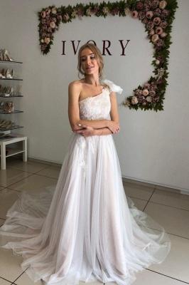 Apliques de un hombro Una línea de vestidos de novia | Vestidos de novia de tul sin espalda sexy_1