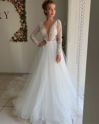 A-line Chiffon Sexy V-neck Wedding Dresses | Long Sleeve Flower Cheap Bridal Gowns_4