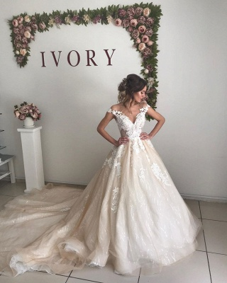 Gorgeous Straps Appliques Ball Gown Wedding Dresses | Sleeveless Open Back Sweep Train Bridal Gowns_3