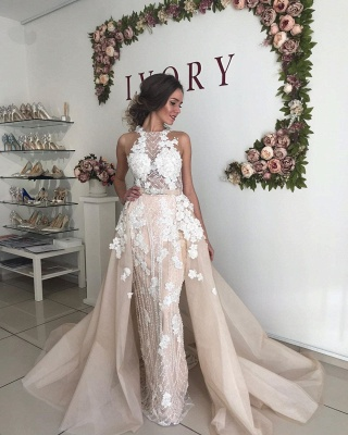Flower Appliques Beading Halter Sheath Wedding Dresses | Backless Belt Bridal Gowns with Detachable Skirt_5