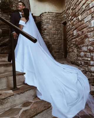 Elegant Off The Shoulder Satin Wedding Dresses | A-line Cheap Bridal Gowns With Sweep Train_2