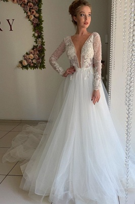 A-line Chiffon Sexy V-neck Wedding Dresses | Long Sleeve Flower Cheap Bridal Gowns_1