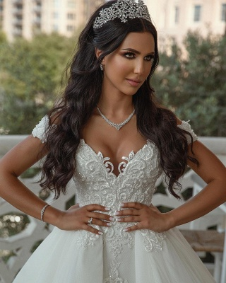 Off The Shoulder Appliques Sheath Wedding Dresses | Sweetheart Tulle Bridal Gowns with Lace Detachable Train_4