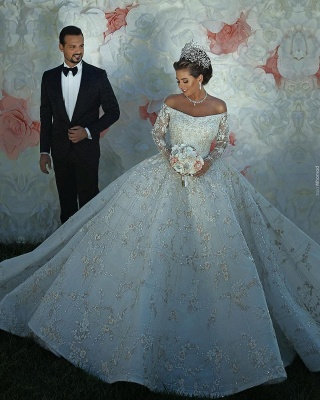 Off The Shoulder Shiny Appliques Ball Gown Wedding Dresses | Lace Long Sleeves Bridal Gowns_5