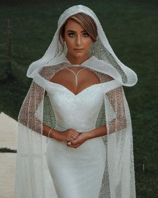 Off The Shoulder Sparkling Sequins Wedding Dresses | Mermaid Floor Length Bridal Gowns With Shawl_5