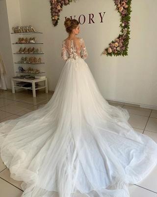 Sheer Tüll Elegante Applikationen Brautkleider | Brautkleider in A-Linie mit langen Ärmeln online_2