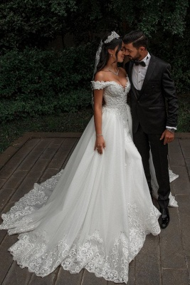 Off The Shoulder Appliques Sheath Wedding Dresses | Sweetheart Tulle Bridal Gowns with Lace Detachable Train_1