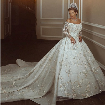 Off The Shoulder Shiny Appliques Ball Gown Wedding Dresses | Lace Long Sleeves Bridal Gowns_2