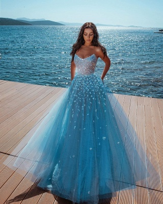 Strapless Shiny Crystal Cheap Prom Dresses | Tulle Sleeveless Floor Length Evening Gowns_2