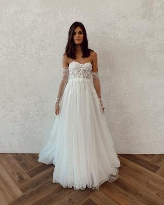 Straplesss A-line Appliques Vestidos de novia baratos | Vestidos de novia sin espalda hasta el suelo con mangas de tul_4