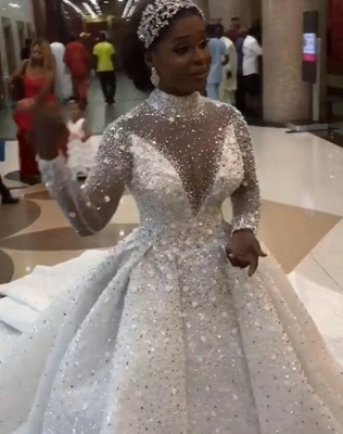 Luxury Beads High Neck Ball Gown Wedding Dresses | Sparkling Long Sleeves Bridal Gowns_2