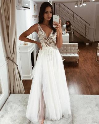 Blumenträger Applikationen Tüll Brautkleider | Ärmellose Strandbrautkleider mit V-Ausschnitt Online_2