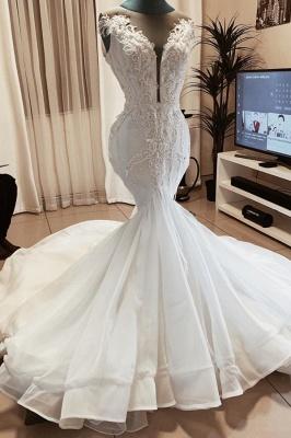 Meerjungfrau Perlen Applikationen Ärmellose Brautkleider | Brautkleider mit V-Ausschnitt aus transparentem Tüll_1