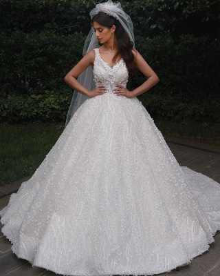 Straps Beads Appliques Ball Gown Wedding Dresses | Floral Backless V-neck Bridal Gowns_4