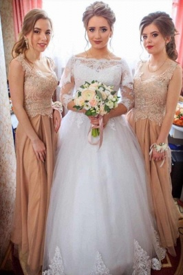 Elegant Lace Appliques Ball Gown Wedding Dresses | Long Sleeves Floor Length Cheap Bridal Gowns_1