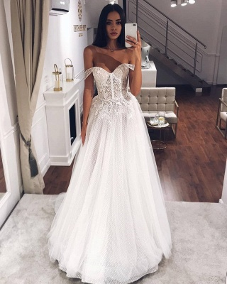 Beads Off The Shoulder Strapless Wedding Dresses | A-line Floor Length Cheap Bridal Gowns_2