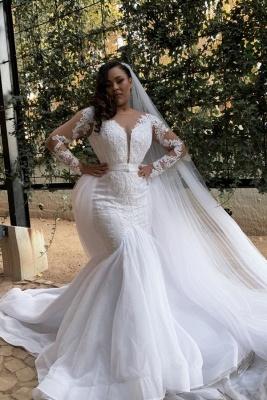 Robes de mariée à manches longues avec sirènes | Robes de mariée de grande taille en tulle transparent_1