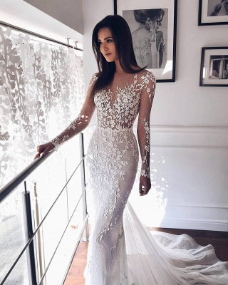 Shiny Crystal Flower Applioques Wedding Dresses | Sheer Tulle Long Sleeve Bridal Gowns_2