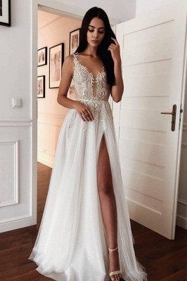 Spaghetti Straps Shiny Appliques Cheap Wedding Dresses | A-line Front Slit V-neck Bridal Gowns Online_1