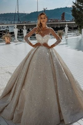 Sparkling Crystal Beading Ball Gown Wedding Dresses | Jewel Sheer Tulle Long Sleeve Bridal Gowns_1