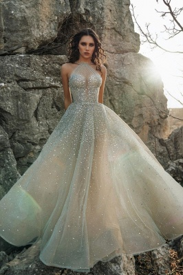 Halter Sparkling Beads Crystal Prom Dresses | Luxury Sleeveless Sheer Tulle Evening Gowns
