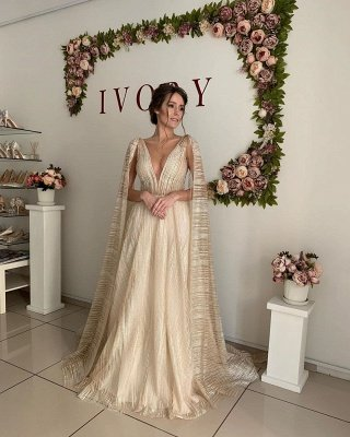 Champagne Straps V-neck Wedding Dresses   Sexy Backless Shawl A-line Bridal Gowns_3